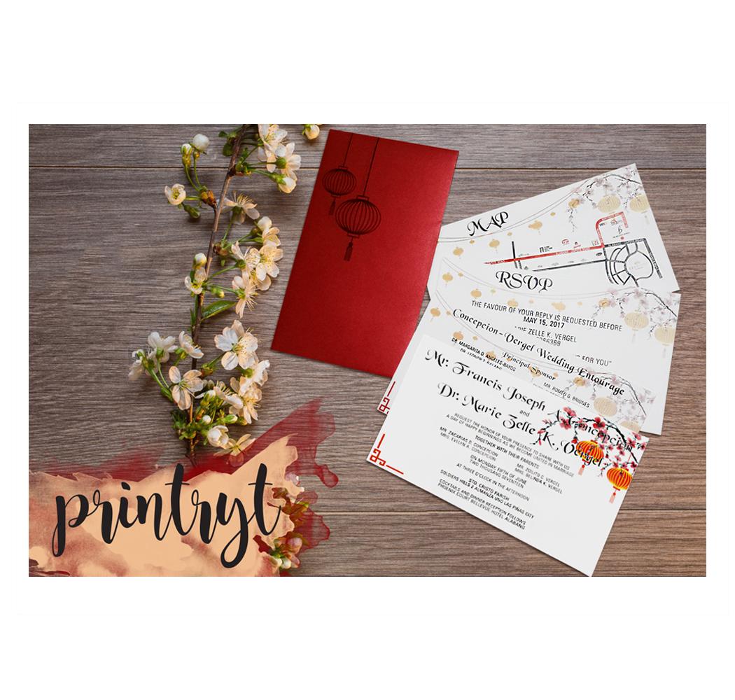 CHINESE LANTERN THEMED WEDDING INVITES - Printryt Incorporated